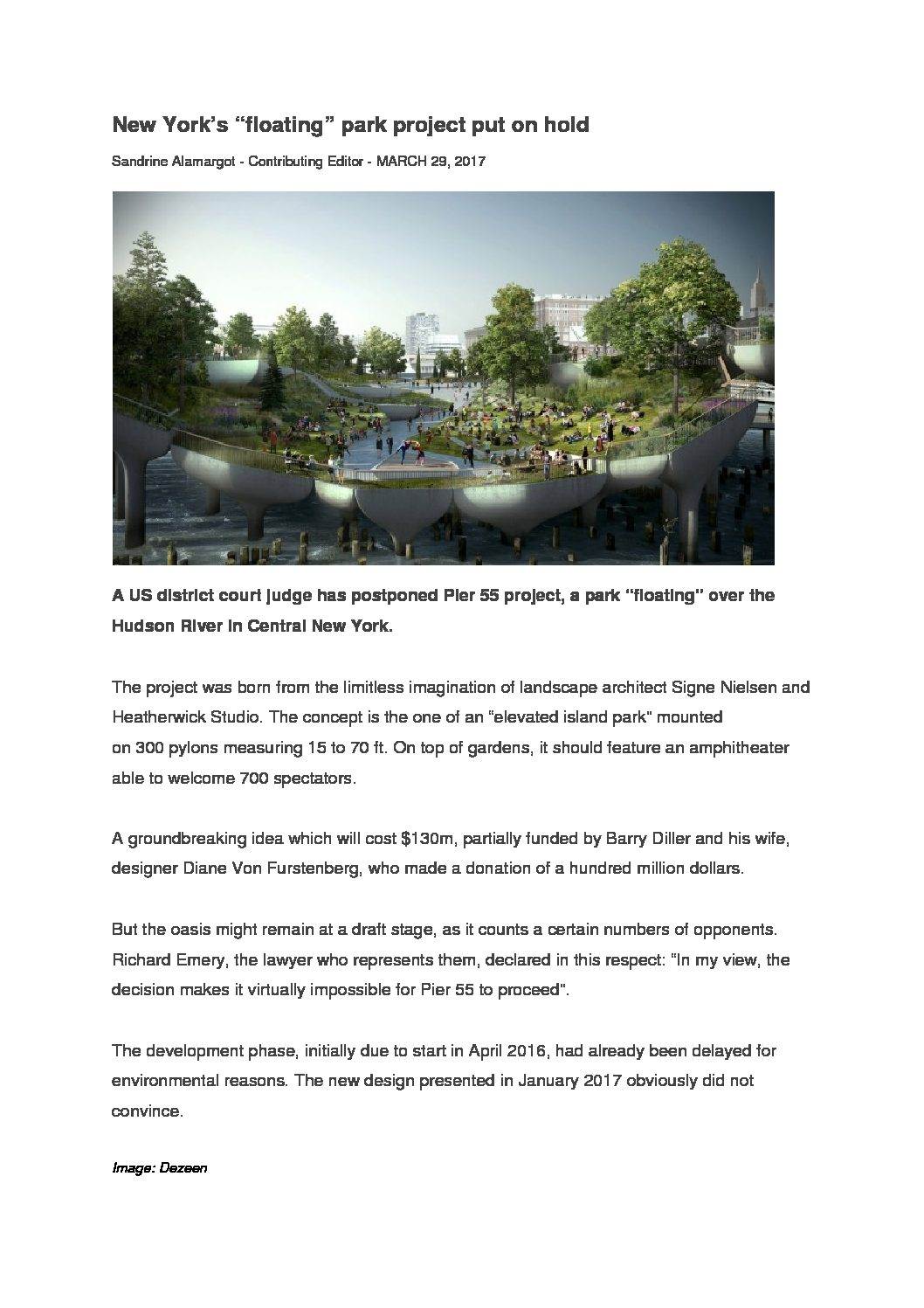New Yorks floating park project put on hold