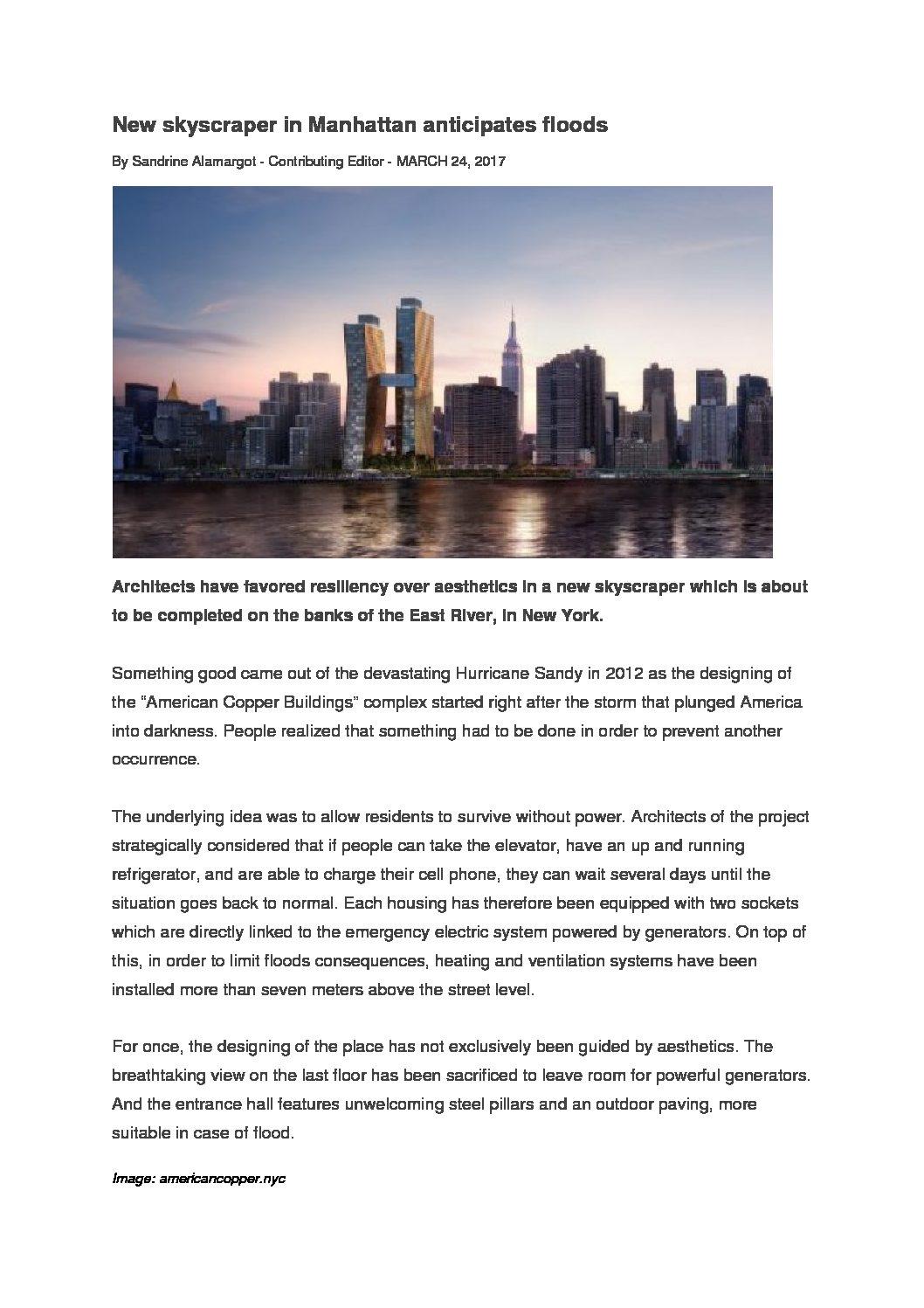 New skyscraper in Manhattan anticipates floods