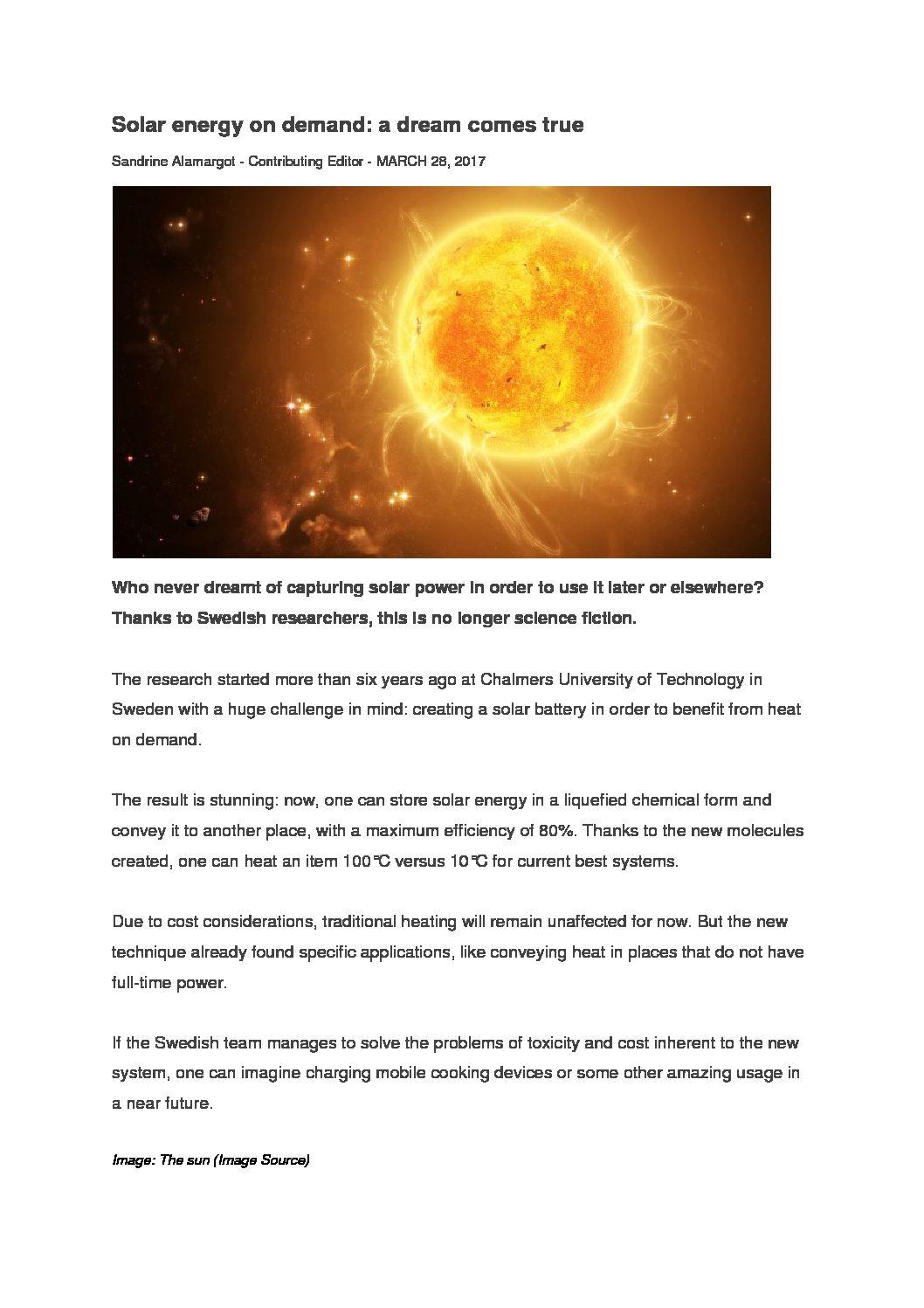 Solar energy on demand a dream comes true