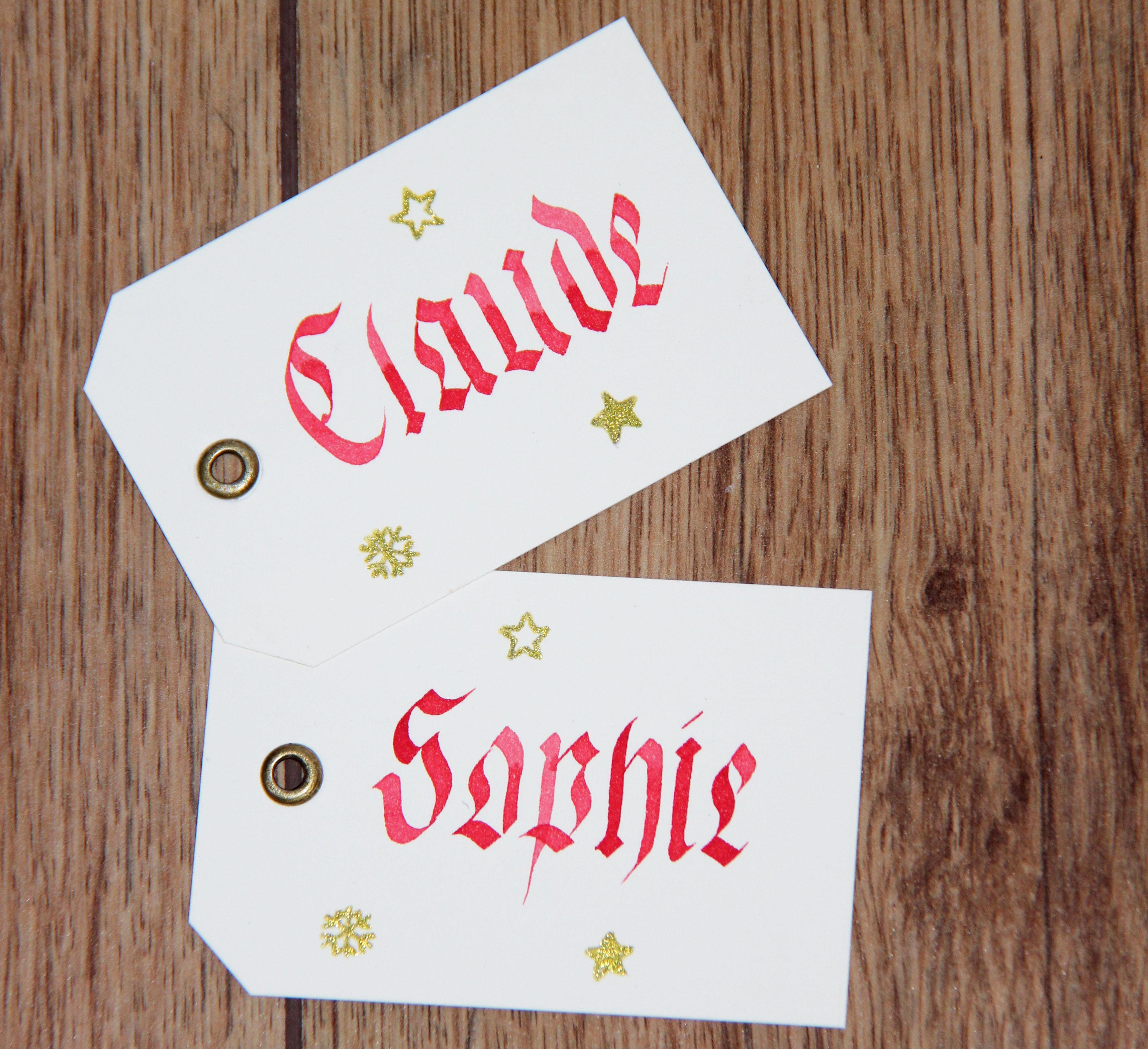Étiquettes prénom calligraphiées